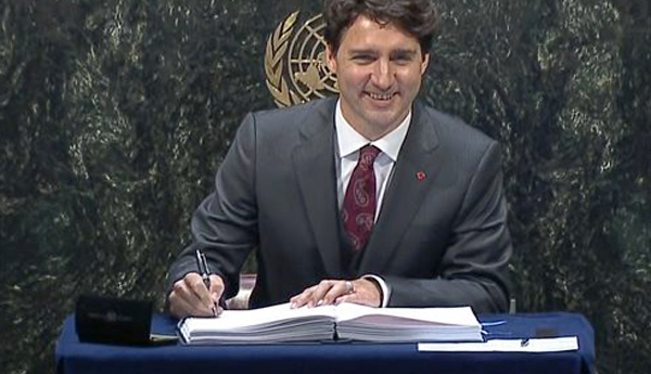 El primer ministro de Canadá, Justin Trudeau, firmó el Acuerdo de Paris. Foto: pm.gc.ca